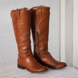 Frye Melissa Tall Riding Boots in Camel leather